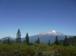 Mt. Shasta and Black Butte  coming down from Castle Lake